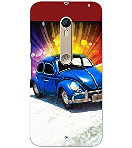 PrintDhaba BLUE CAR D-6150 Back Case Cover for MOTOROLA MOTO X STYLE (Multi-Coloured)