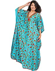 Exotic India Capri-Blue Kaftan From Kashmir With Ari Hand-Emroidered Flow - Blue