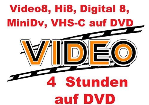 Remmoplace 4 Stunden VHS,VHS-C,Digital 8,Hi8, MiniDv,Digitalisieren auf DVD