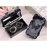 Anna sui retro rose flower square vintage false eyelash jewelry nail art tool storage carry mirror case (black)