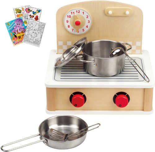 Hape 3134 Indoor Outdoor Cooktop Duel-Side Play Food Stove with Coloring Book