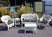 "Hot Sale White Sahara Patio Set - Hampton Bay Summer Cushions (White / Hampton Bay) (35""H x 53""W x 26""D)"