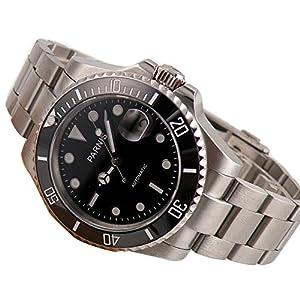 40mm Miyota Mechanical Automatic Ceramic Bezel Mens Sapphire Glass Black Dial Wristwatch