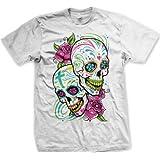 Sugar Skulls With Roses Men's T-shirt (White, Large)