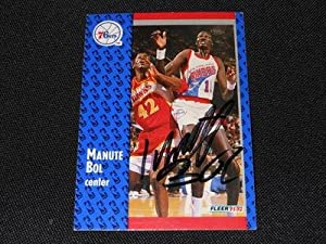 Philadelphia 76er Manute Bol (d.10) Signed Autograph 1991 92 Fleer Card #335 S30 by city_liquidators