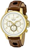 "Invicta Men's 16011 S1 ""Rally"" 18k Gold Ion-Plated Watch with Brown Leather Strap"