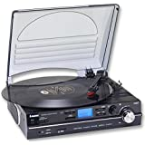 Steepletone ST929 Black Record Player with Remote Control - Turntable & MP3 Player - Also Converts Records to MP3 Format - Standalone Unit/Built In Speakers