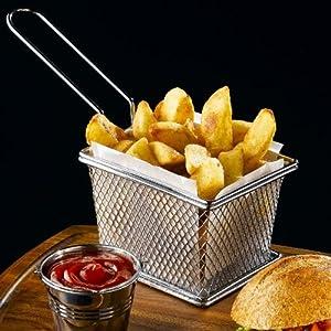 Mini Chrome Fryer Serving Basket 12.5 x 10 x 8.5cm | Chip Basket, Food Presentation Basket