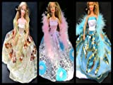3 x Barbie Sindy Doll sized dresses 3 piece doll's ball gown evening wedding fairy dresses, gloves & boa (doll not included) - posted from London by Fat-Catz