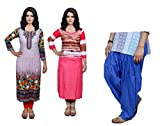 Indistar Women Printed Unstitched Kurti Fabric and Premium Cotton Patiala Salwar- Combo Pack of 3