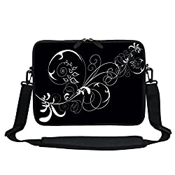 Meffort Inc 13 13.3 inch Neoprene Laptop Carrying Case Sleeve Bag with Hidden Handle and Adjustable Shoulder Strap - Black Swirl Design