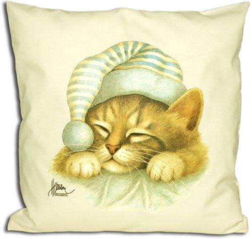 Schlafmütze - Knuddeliges Designer Kissen mit Katzenmotiv 40x40 cm Katzenkissen Dekokissen Zierkissen mit verdecktem Reißverschluss und Füllkissen
