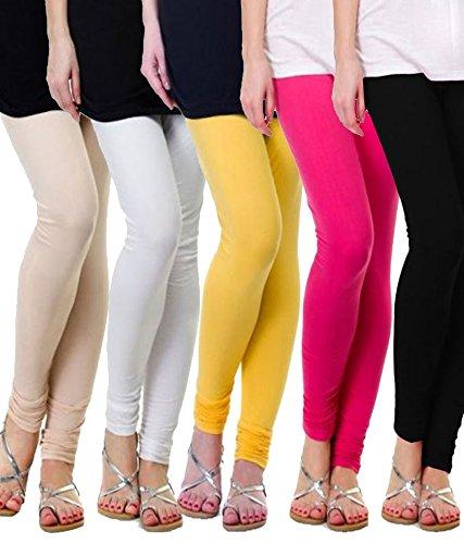 MGR-Womens-Cotton-Lycra-Churidar-Leggings-Combo-Pack-of-5-Pink-Skin-White-Yellow-Black-Free-Size