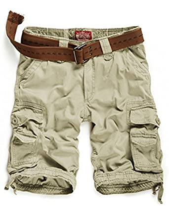 Match Mens Twill Cargo Shorts Quick-dry Summer Shorts S3612 (Label size M/30 (US 29), Ivory)