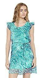 Sera Women's Dress (LA2269-Teal-L, Blue, Large)