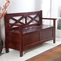 Harper X-Back Storage Bench - Wenge Dark Wood