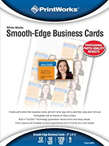 Printworks Smooth-Edge Business Cards, White Matte, Inkjet, 2 x 3.5 Inch, 12 Sheets, 120 cards (00473)