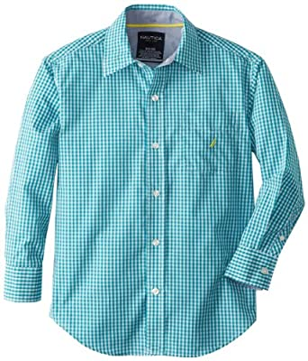 Nautica Big Boys' Long Sleeve Gingham Woven Shirt, Sea Blue, X-Large