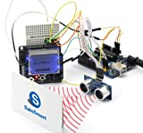 SainSmart C22 Kit with UNO + Graphic LCD4884 Shield + HC-SR04 Distance Sensor + Prototype Shield + Mini Breadboard + Jump Wires for Arduino UNO R3 MEGA Mega2560 Nano DUE Duemilanove AVR ATMEL Robot XBee ZigBee