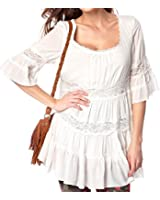 Tops for Women - Ladies Ivory or Black Long Gypsy Tunic Top Plus sizes 22 - 28