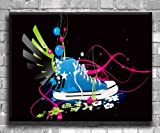 Flying Converse Abstract Art - Chunky Canvas Art Print - Wall Art - Wall Decor - Framed Ready to Hang (30