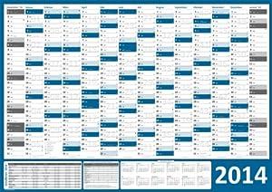 XXL Wandkalender 2014 - DIN A0 Format (1188 x 840 mm) - Wandplaner 2014 XXL - 14 Monate, inkl. Ferientermine und Feiertage + Vorschau 2015, Offset-Druck auf Bilderdruckpapier glänzend - (Kalender gerollt)