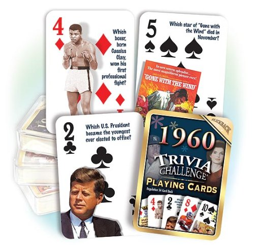 Flickback 1960 Trivia Playing Cards: 56th Birthday Gift, 56th Anniversary - 1