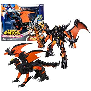 """Hasbro Year 2013 Transformers Prime """"Beast Hunters - Predacon Rising"""" Series Exclusive Ultimate Class 11 Inch Tall Robot Action Figure - BEAST FIRE PREDAKING with 21"""" Wingspan and Light Up Fire Breath Plus Infernum Blade and 2 Missile Launchers with 2 Mis"""