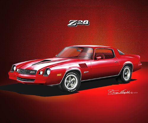 1978-1979 CAMARO Z28 CARMINE - ART PRINT POSTER BY ARTIST DANNY WHITFIELD- size 20 X 24 (1978 Camaro Posters compare prices)
