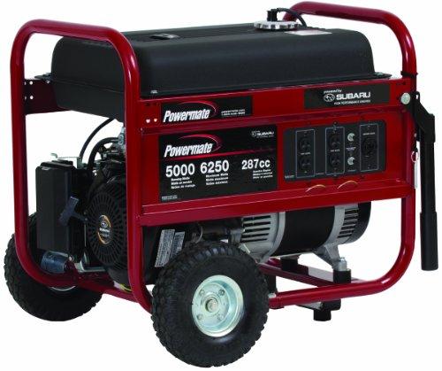 PowerMate Powermate PM0435005 6,250 Watt 287cc 10 HP Subaru EX30 Gas Powered Portable Generator With Straight Handle