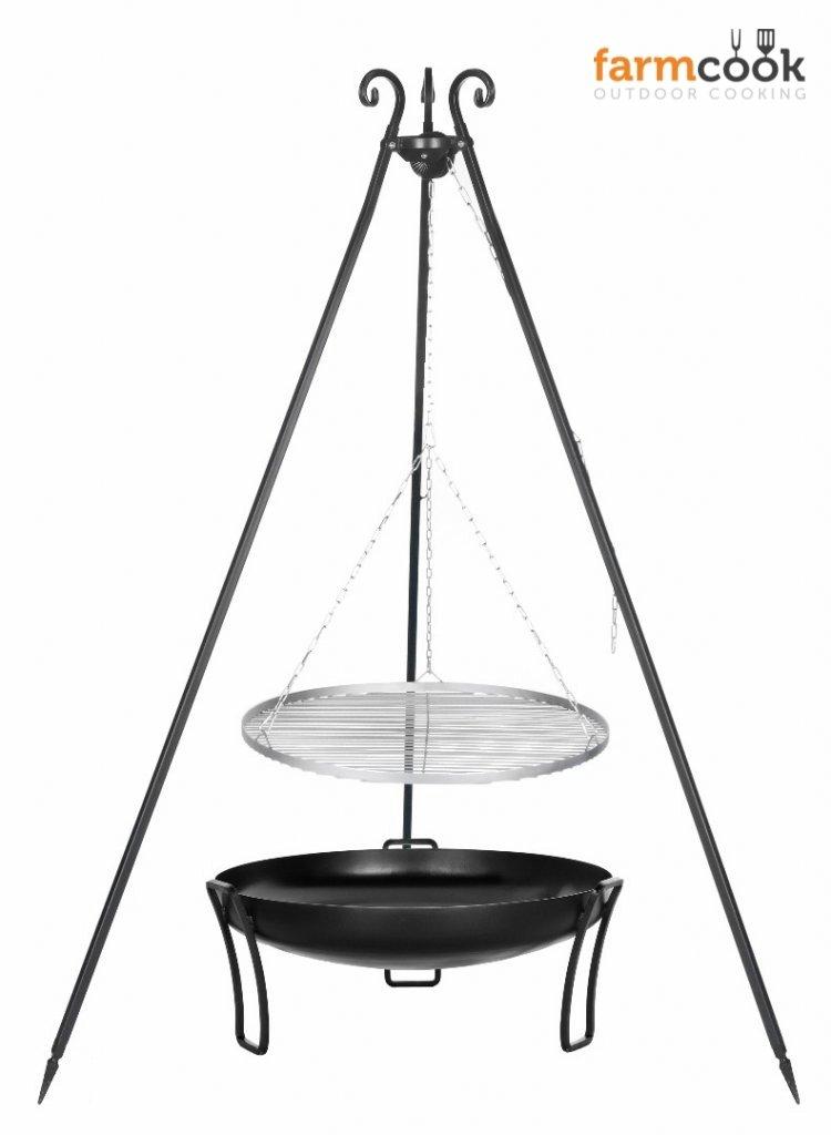 Dreibein Grill VIKING Höhe 180cm + Grillrost aus Edelstahl Durchmesser 70cm + Feuerschale Pan39 Durchmesser 80cm bestellen