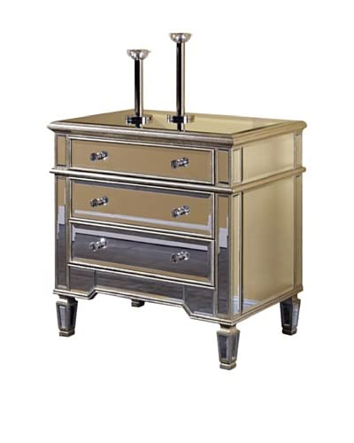 Florentine Small 3-Drawer Cabinet, Silver Leaf/Clear Mirror