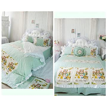 Vintage DIAIDI Cute Cartoon Green Bedding Sets Cute Kitty Duvet Covers Flax Linen Cotton Comforter Sets Twin Queen King Pcs TWIN