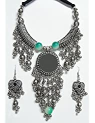 DollsofIndia Metal Necklace With Jhalar Pendant And Earrings - White Metal - White - B00RHSQN4A