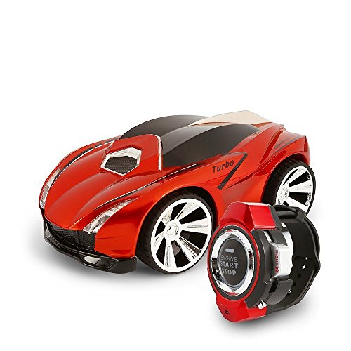 Goolsky 1/30 2.4Ghz Rechargeable Voice Control RC Cars Command by Smart Watch Creative Voice-activated RC Toys Red