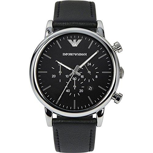Emporio Armani - Orologio da uomo XL cronografo, al quarzo, in pelle AR1828