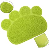 Cat Litter Trapping Mats. For Cat Litter Boxes (Paw Print - Lime)