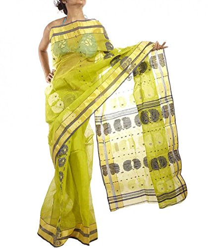 10kya Bengal Cotton Handloom Light green base Yellow and Black border Saree