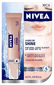 NIVEA A Kiss of Shine Natural Glossy Lip Care SPF 15 Blister Card, 0.3 Ounce