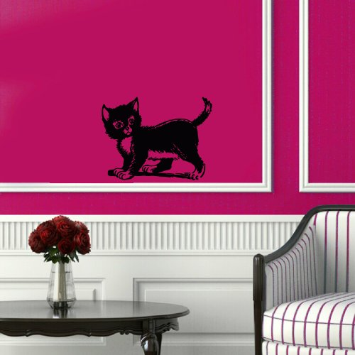 Wall Vinyl Decal Sticker Art Design Kitten Retro Clip Art Illustration Room Nice Picture Decor Hall Wall Chu707 front-965747