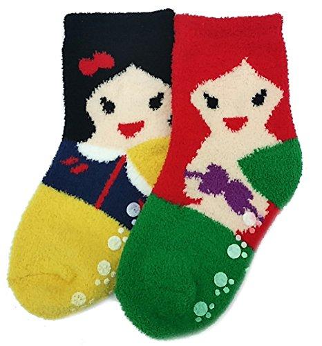 Jjmax Girl'S Princesses Microfiber Non-Slip Crew Socks (Princesses)