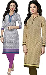 SDM Women's Kurti Printed Cotton Dress Material Unstitched Combo of 2 (P114-128, Unstitched)