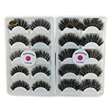 2 Pack 3D Real Mink K01 Wispy False Eyelashes LASGOOS 100% Siberian Mink Fur Luxurious Soft Cross K02 Very Thick Very Long for Party 10 Pairs Fake Eye Lashes 5 Pairs/Box K01+K02 (Color: Black)