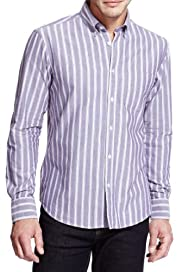 Pure Cotton Oxford Weave Striped Shirt [T25-2411M-S]