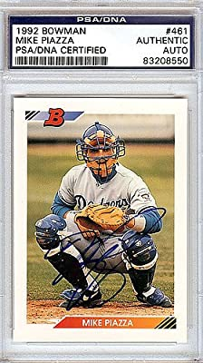 Mike Piazza Los Angeles Dodgers Autographed 1992 Bowman Rookie Card - PSA/DNA Authentic