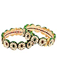 TKD Jewellers Multi-Colour Color Traditional Wear Gold Plated Kundan Bangle Set For Women (TKDJ063)