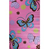Glam Collection- Fun Pattern Design Area Rug for Children's Rooms PINK 5'X7' Butterflies