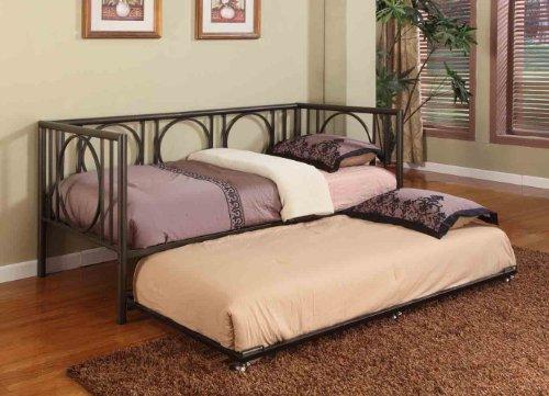 texture black metal twin size day bed daybed frame with rails trundle hsgfshgkj. Black Bedroom Furniture Sets. Home Design Ideas