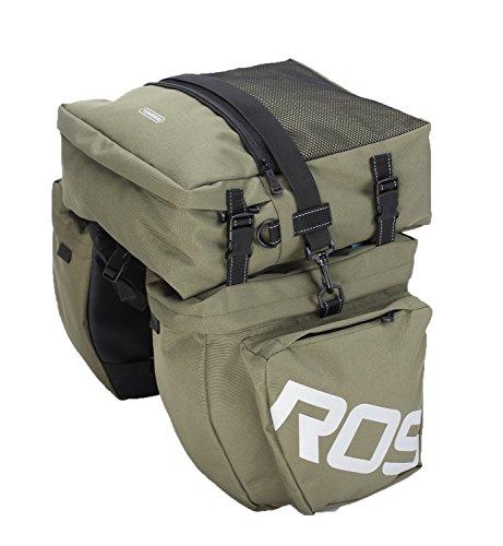 Layopo Roswheel 3 In 1 Waterproof Large Bicycle Rear Seat Trunk Bag Grocery Bag Handbag Pannier Bag,Navy Green With Layopo'S Carabiner front-882635