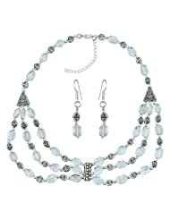 Pearlz Ocean Cambre Green Amethyst Gemstone Beads Designer Two- Piece Necklace Set